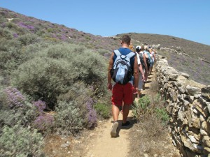 Walking on a footpath of Apano Meria